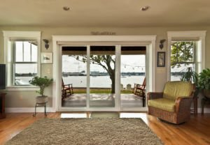 Large Sliding Glass Doors Installed on Waterfront RI Home by Marshall Building & Remodeling