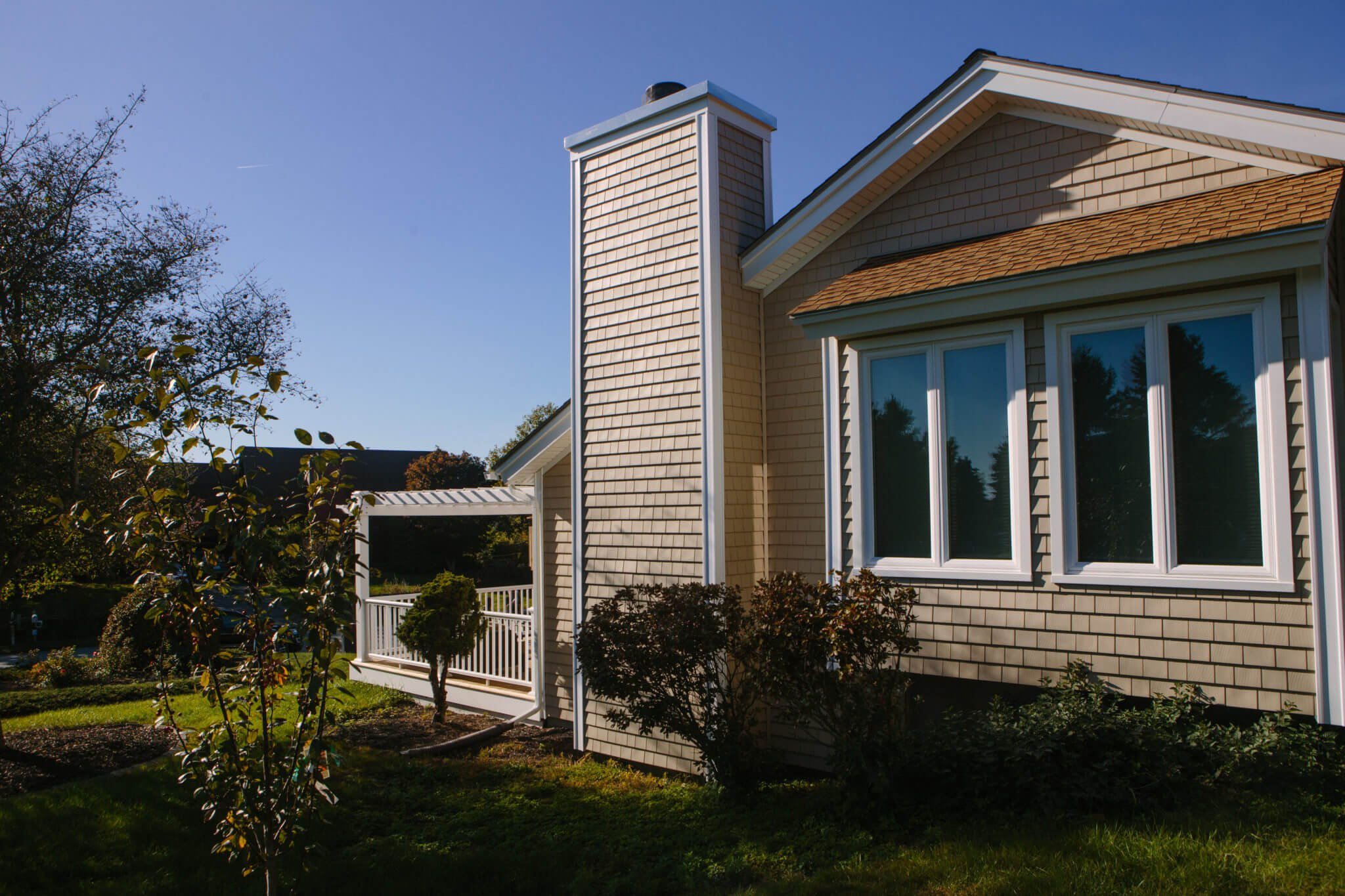 """CertainTeed Cedar Impressions 5"""" Siding in Light Maple Installed on RI Home by Marshall Building & Remodeling"""